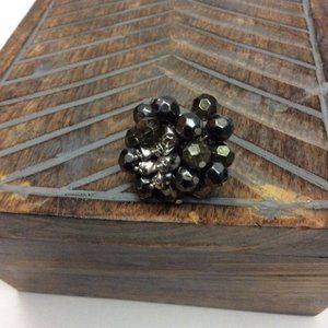 Black and Silver Beaded Oversized Cocktail Ring